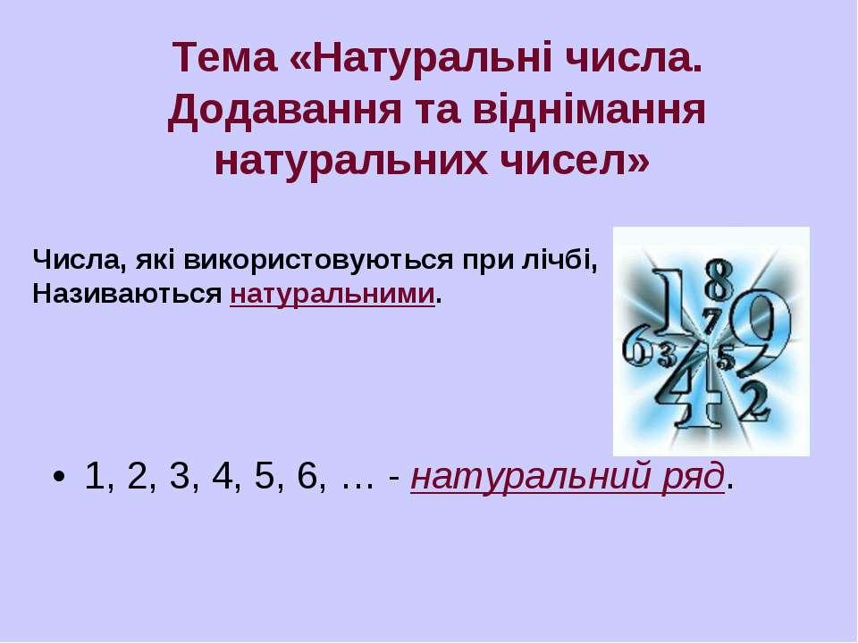 1, 2, 3, 4, 5, 6, … - натуральний ряд. Тема «Натуральні числа. Додавання та в...