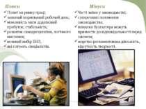 Плюси Попит на ринку праці; зазвичай нормований робочий день; можливість мати...