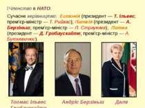 Членство в НАТО. Сучасне керівництво: Естонія (президент — Т. Ільвес; прем'єр...