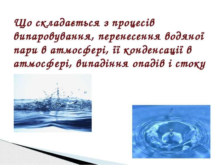 Що складається з процесів випаровування, перенесення водяної пари в атмосфері...