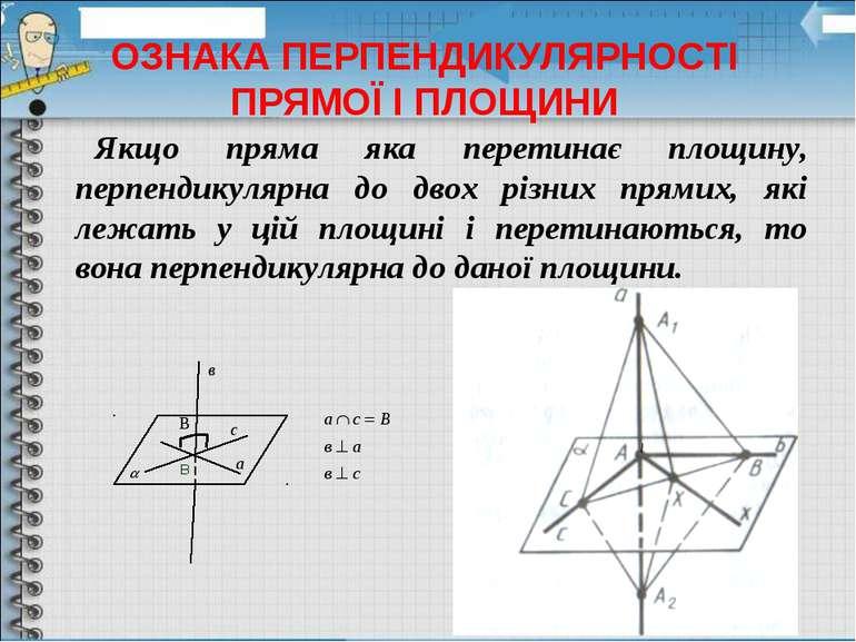 Якщо пряма яка перетинає площину, перпендикулярна до двох різних прямих, які ...