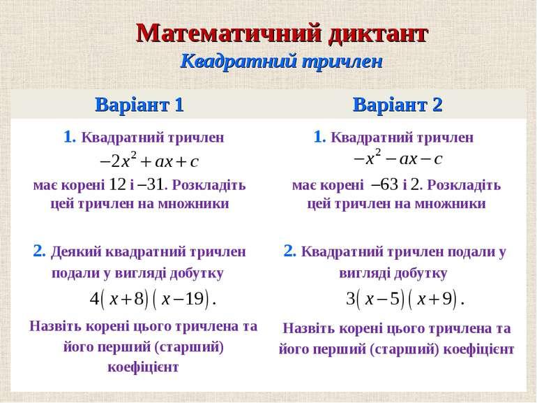 Варiант 1 Варiант 2