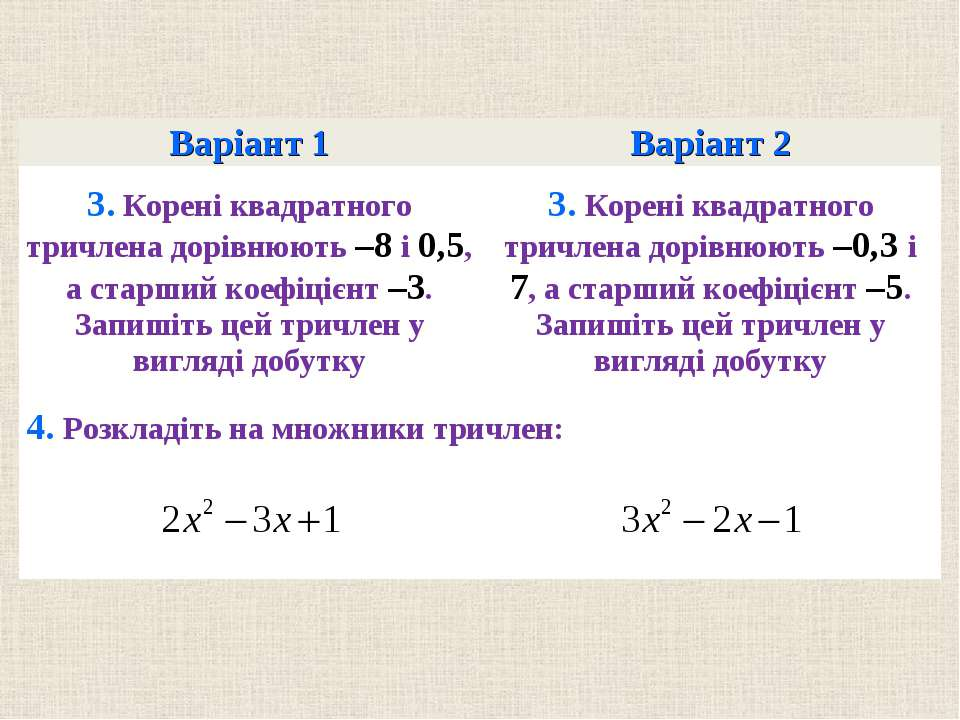 Варiант 1 Варiант 2 3. Коренi квадратного тричлена дорiвнюють –8 i 0,5, а ста...