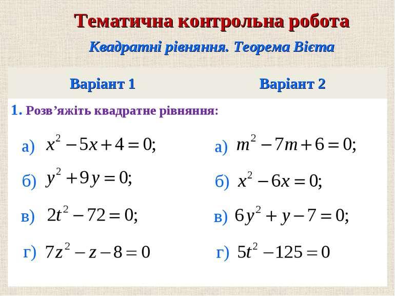 Варiант 1 Варiант 2 1. Розв'яжiть квадратне рiвняння: