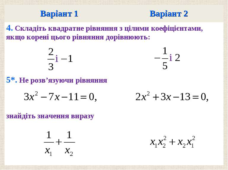 Варiант 1 Варiант 2 4. Складiть квадратне рiвняння з цiлими коефiцiєнтами, як...