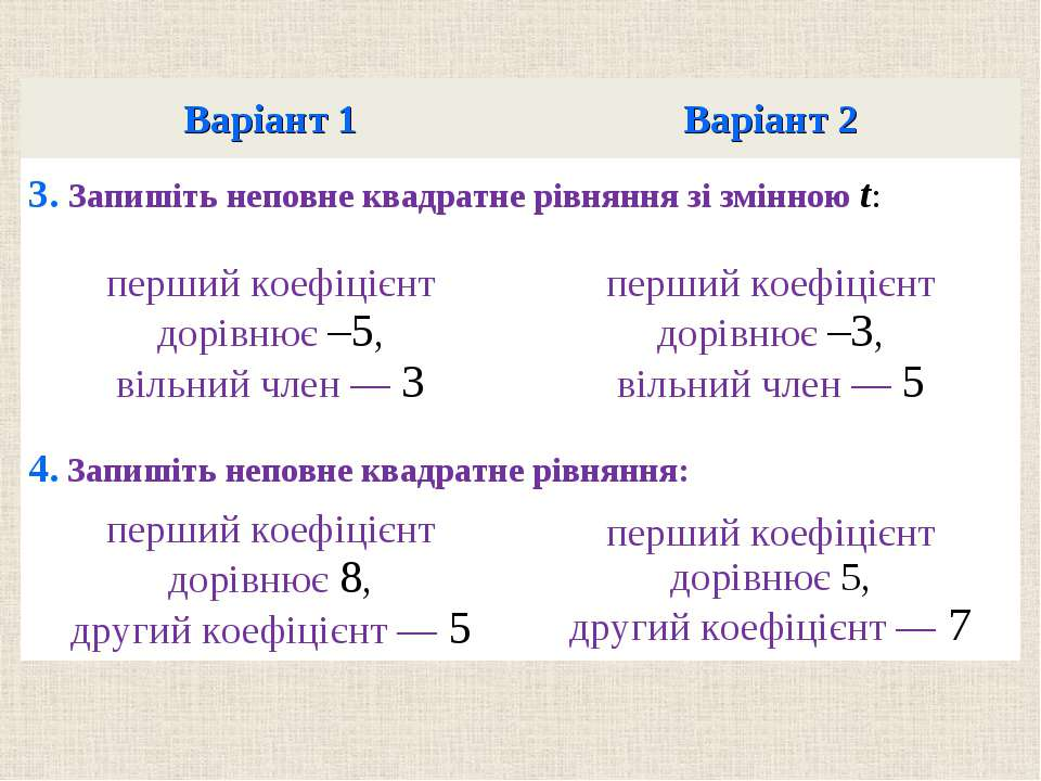 Варiант 1 Варiант 2 3. Запишiть неповне квадратне рiвняння зi змiнною t: перш...