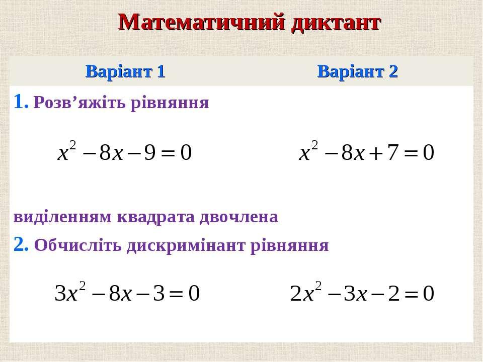 Варiант 1 Варiант 2 1. Розв'яжiть рiвняння видiленням квадрата двочлена 2. Об...