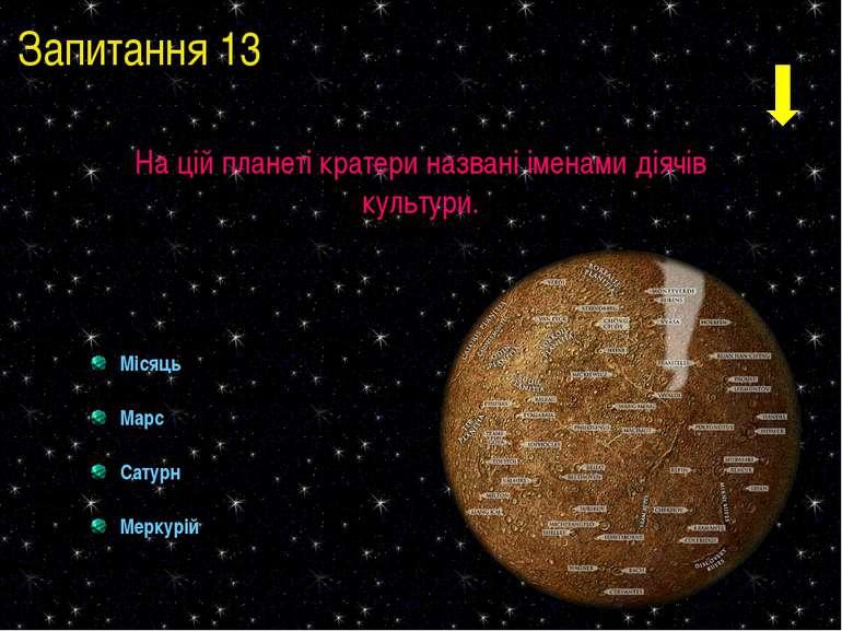 Запитання 13 На цій планеті кратери названі іменами діячів культури. Місяць М...