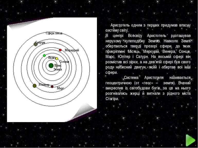 Аристотель одним з перших придумав власну систему світу. В центрі Всесвіту Ар...