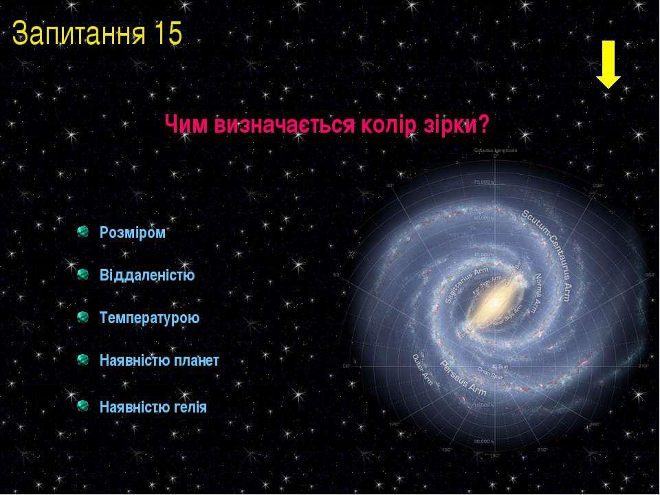 Розміром Віддаленістю Температурою Наявністю планет Наявністю гелія Чим визна...