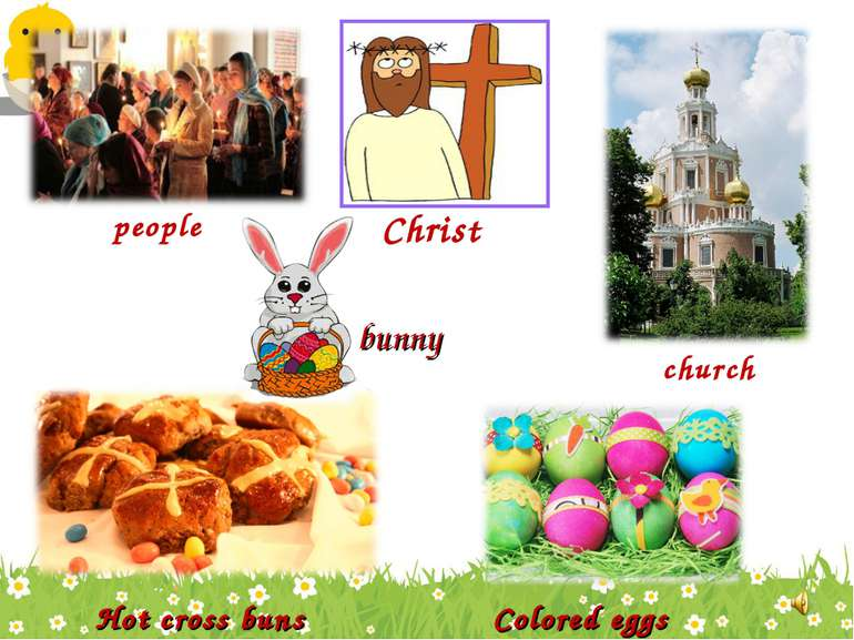 Christ people church Hot cross buns Colored eggs bunny