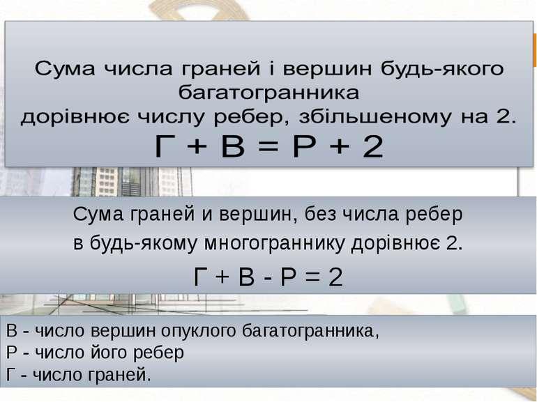В - число вершин опуклого багатогранника, Р - число його ребер Г - число гран...