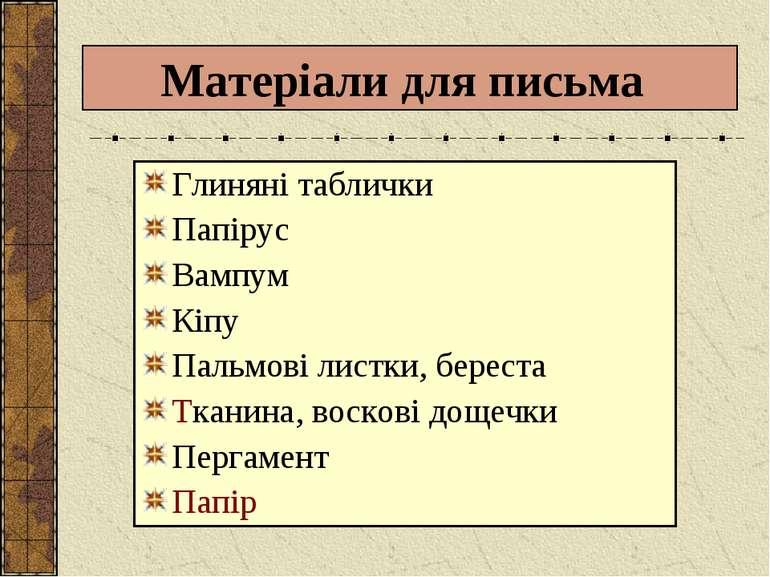 Матеріали для письма Глиняні таблички Папірус Вампум Кіпу Пальмові листки, бе...