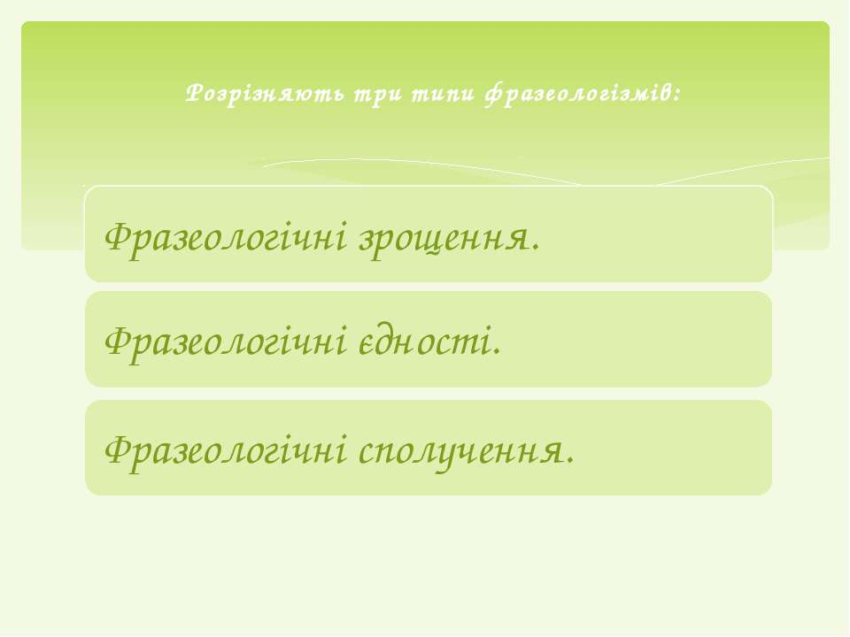 Розрізняють три типи фразеологізмів: