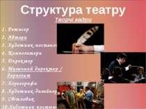 Структура театру Творчі кадри 1. Режисер 2. Автори 3. Художник-постановник 4....