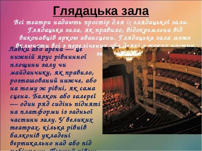 Глядацька зала Всі театри надають простір для їх глядацької зали. Глядацька з...