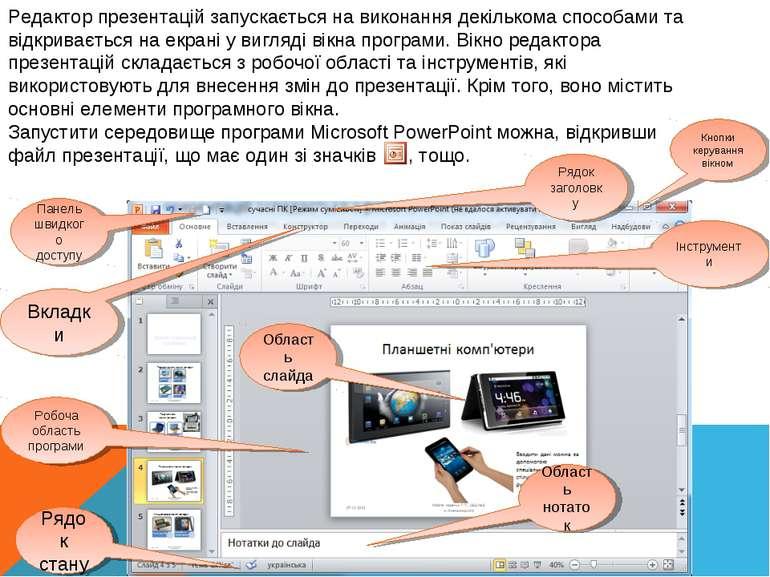 Редактор презентацій запускається на виконання декількома способами та відкри...