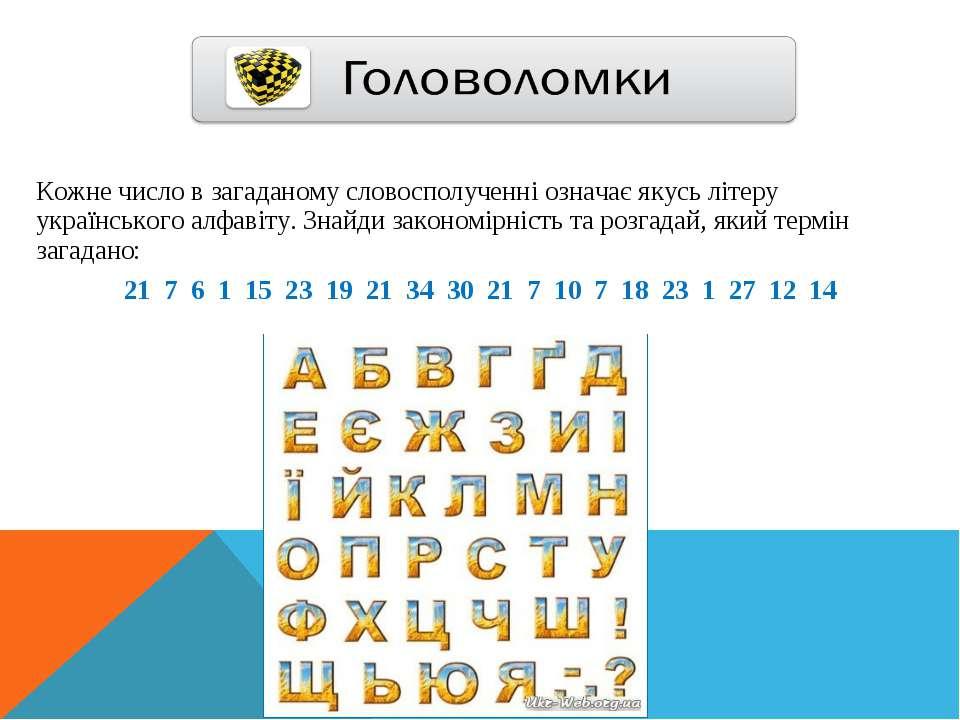 Кожне число в загаданому словосполученні означає якусь літеру українського ал...