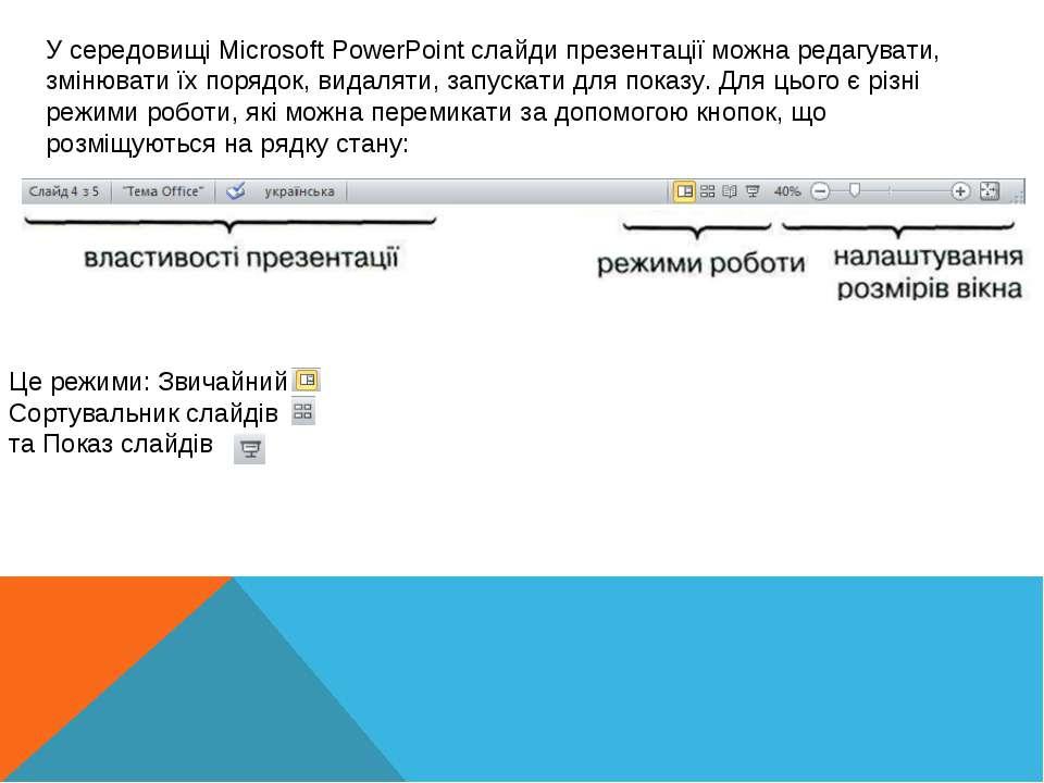 У середовищі Microsoft PowerPoint слайди презентації можна редагувати, змінюв...
