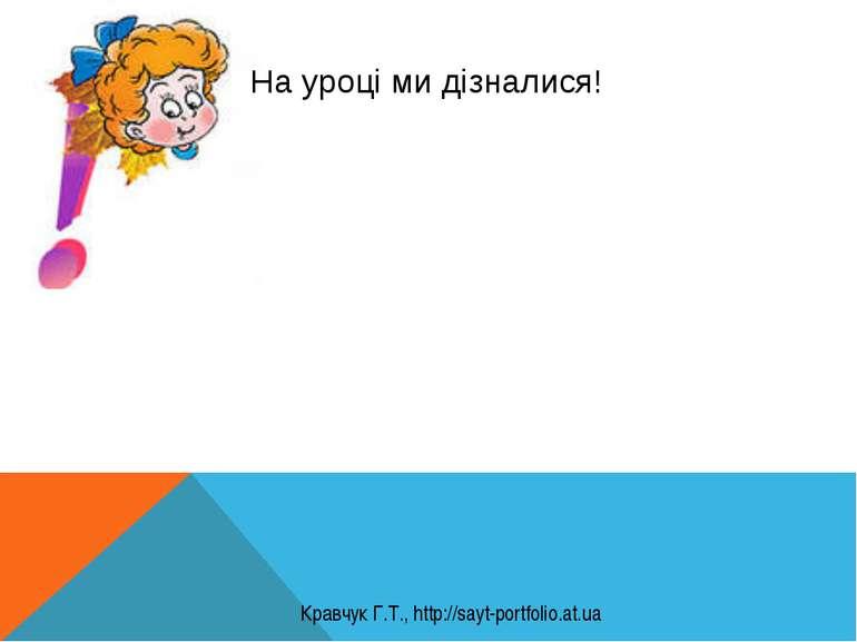На уроці ми дізналися! Кравчук Г.Т., http://sayt-portfolio.at.ua