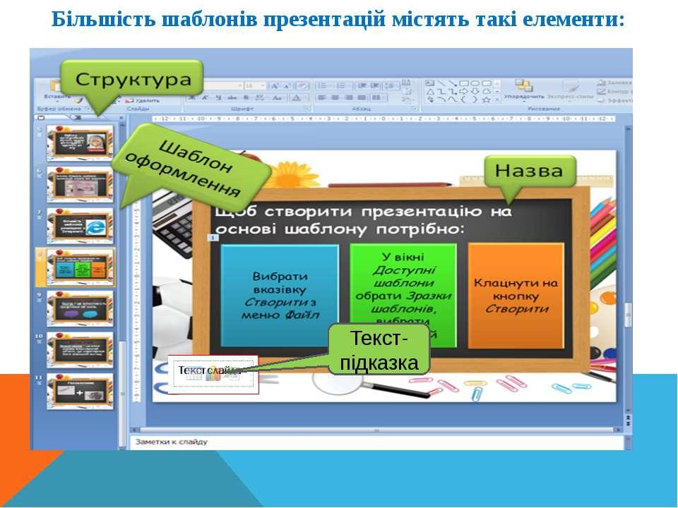 Інформатика 5 клас Більшість шаблонів презентацій містять такі елементи: Текс...