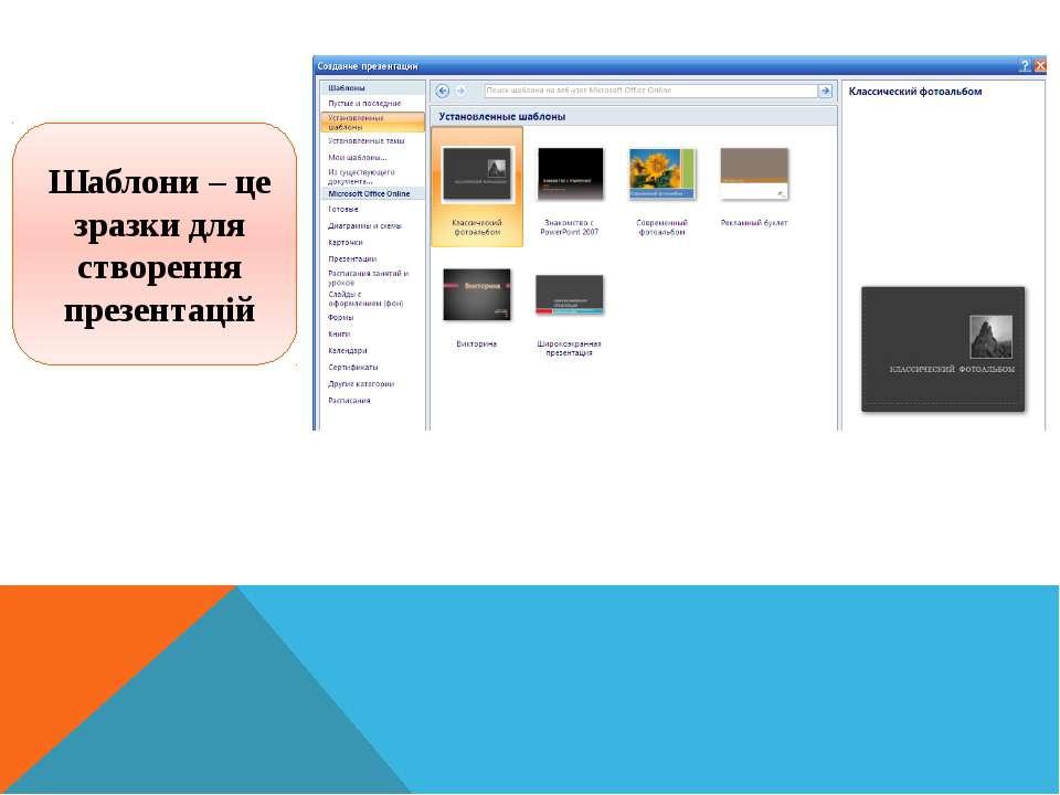 Інформатика 5 клас Шаблони – це зразки для створення презентацій