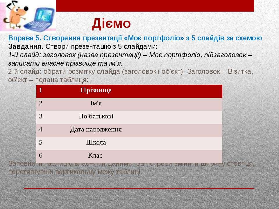 Діємо Вправа 5. Створення презентації «Моє портфоліо» з 5 слайдів за схемою З...