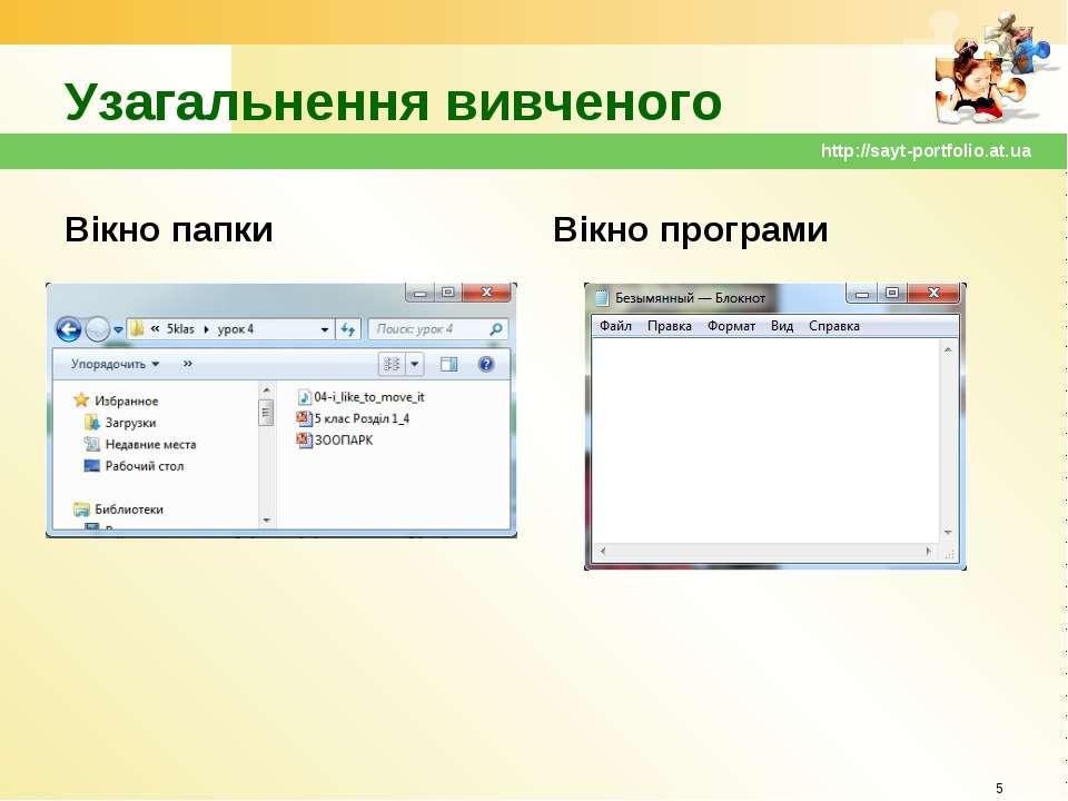 Узагальнення вивченого Вікно папки Вікно програми * http://sayt-portfolio.at....