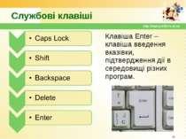 Службові клавіші Клавіша Enter – клавіша введення вказівки, підтвердження дії...