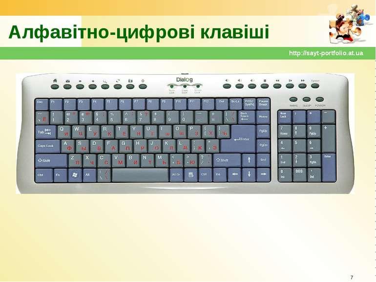 Алфавітно-цифрові клавіші * http://sayt-portfolio.at.ua http://sayt-portfolio...