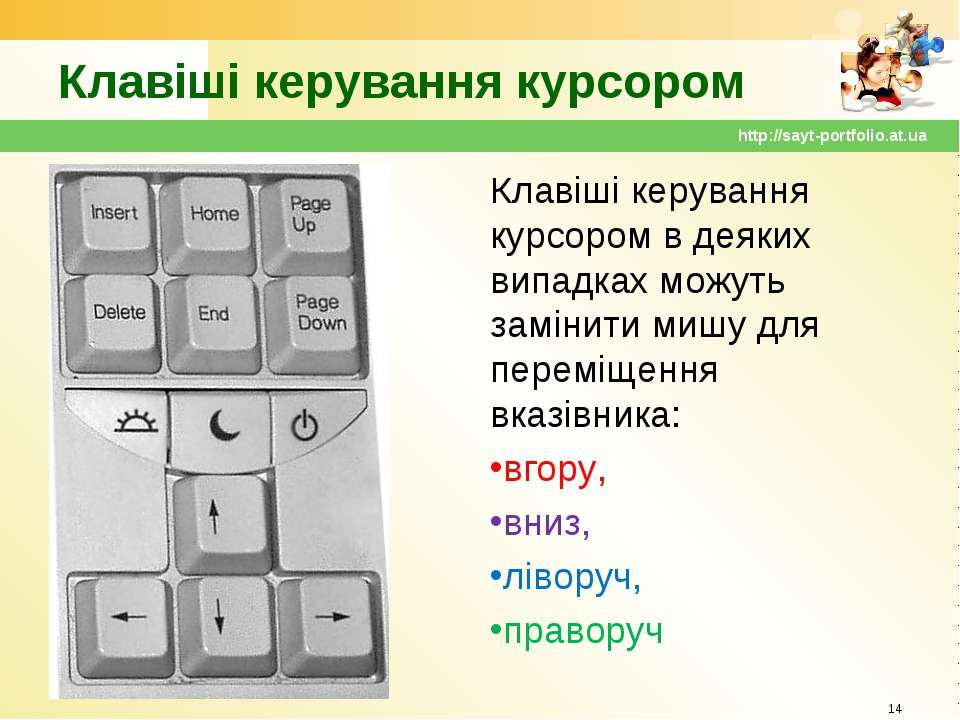 Клавіші керування курсором Клавіші керування курсором в деяких випадках можут...