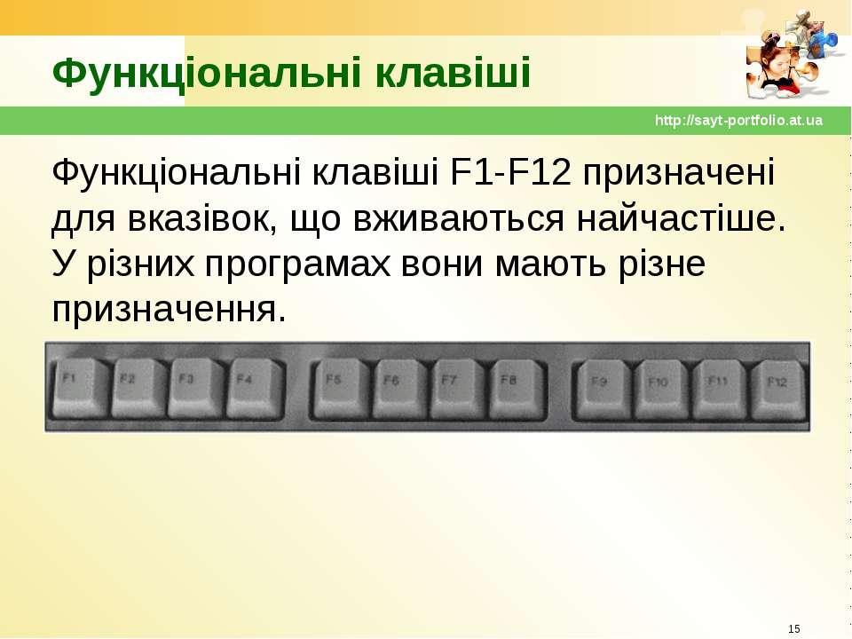Функціональні клавіші Функціональні клавіші F1-F12 призначені для вказівок, щ...