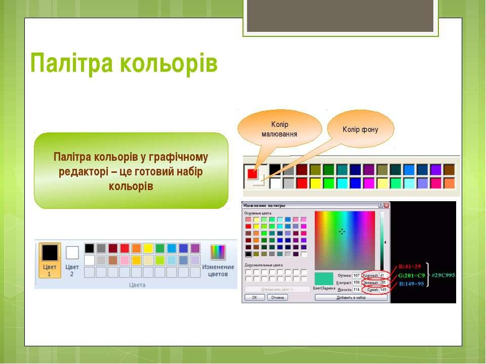 Палітра кольорів Палітра кольорів у графічному редакторі – це готовий набір к...