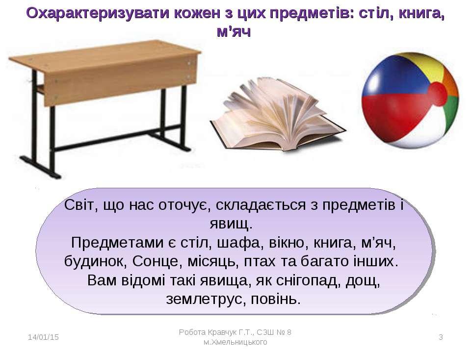 Охарактеризувати кожен з цих предметів: стіл, книга, м'яч * Робота Кравчук Г....