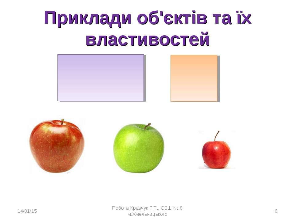 Приклади об'єктів та їх властивостей * Робота Кравчук Г.Т., СЗШ № 8 м.Хмельни...