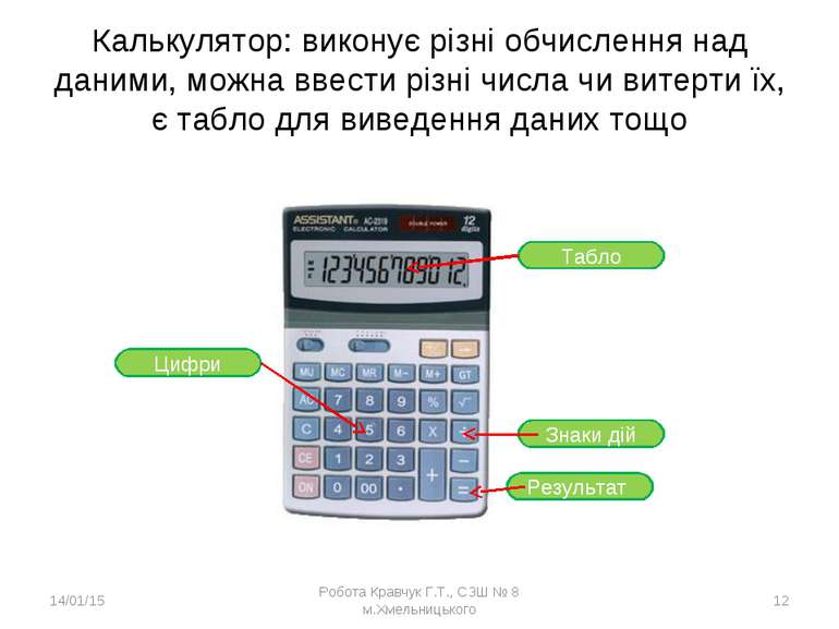 Калькулятор: виконує різні обчислення над даними, можна ввести різні числа чи...