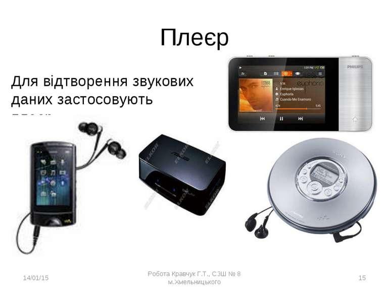 Плеєр Для відтворення звукових даних застосовують плеєр. * Робота Кравчук Г.Т...