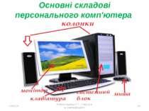 Основні складові персонального комп'ютера * Робота Кравчук Г.Т., СЗШ № 8 м.Хм...