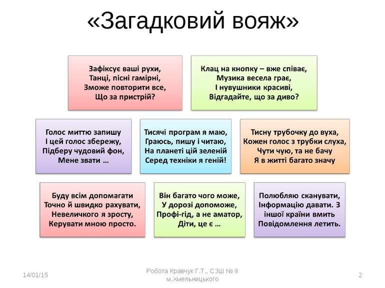 «Загадковий вояж» * Робота Кравчук Г.Т., СЗШ № 8 м.Хмельницького * Робота Кра...