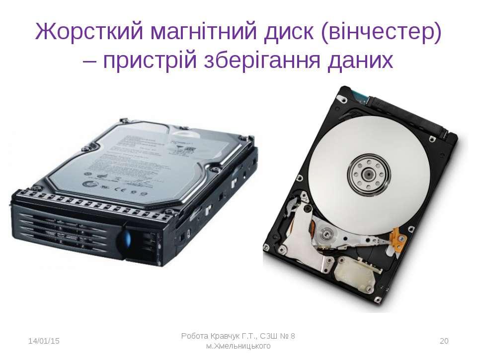 Жорсткий магнітний диск (вінчестер) – пристрій зберігання даних * Робота Крав...