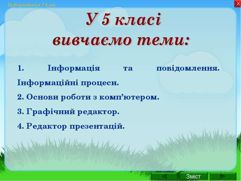 Інформатика 5 клас 1. Інформація та повідомлення. Інформаційні процеси. 2. Ос...