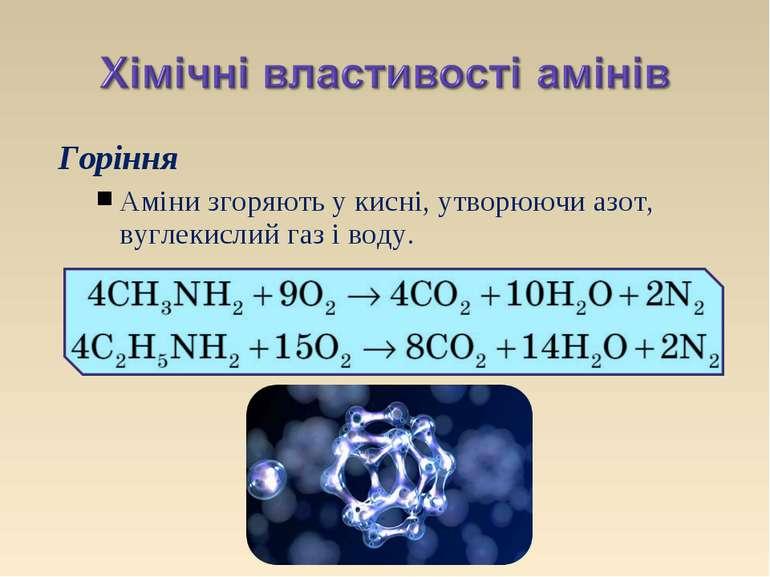 Горіння Аміни згоряють у кисні, утворюючи азот, вуглекислий газ і воду.