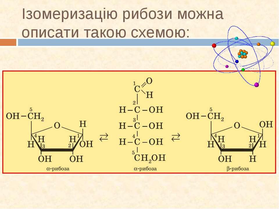 Ізомеризацію рибози можна описати такою схемою: