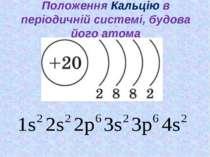 Положення Кальцію в періодичній системі, будова його атома