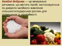 Калійні добрива — це мінеральні речовини, що містять Калій; застосовуються як...