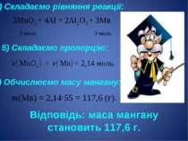 4) Складаємо рівняння реакції: 5) Складаємо пропорцію: 6) Обчислюємо масу ман...