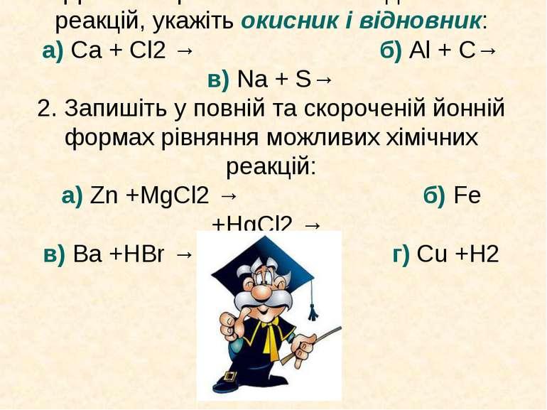 Допишіть рівняння окисно-відновних реакцій, укажіть окисник і відновник: а) C...