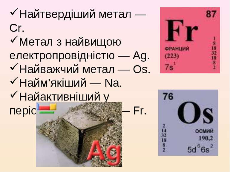 Найтвердіший метал — Cr. Метал з найвищою електропровідністю — Ag. Найважчий ...