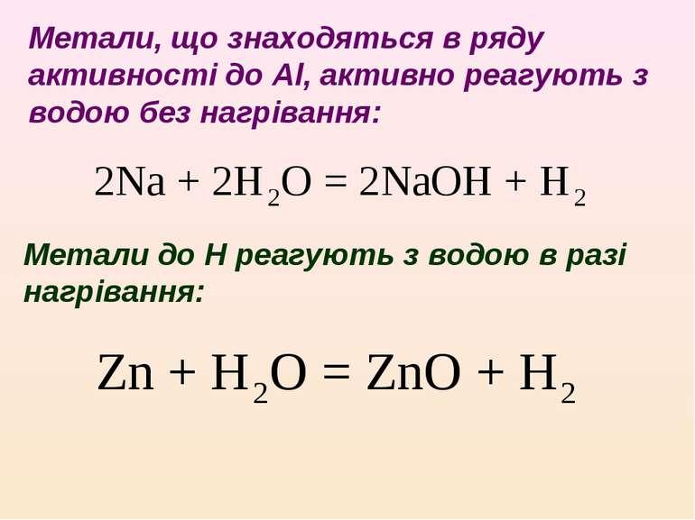 Метали, що знаходяться в ряду активності до Al, активно реагують з водою без ...