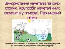 Використання неметалів та їхніх сполук. Кругообіг неметалічних елементів у пр...